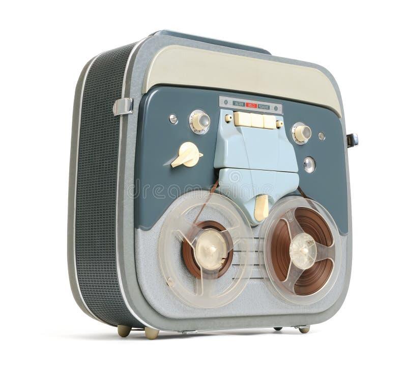 Carretel análogo do registrador da fita velha a bobinar fotografia de stock