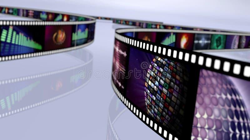 Carretel de filme com medidores e globos do VU ilustração royalty free
