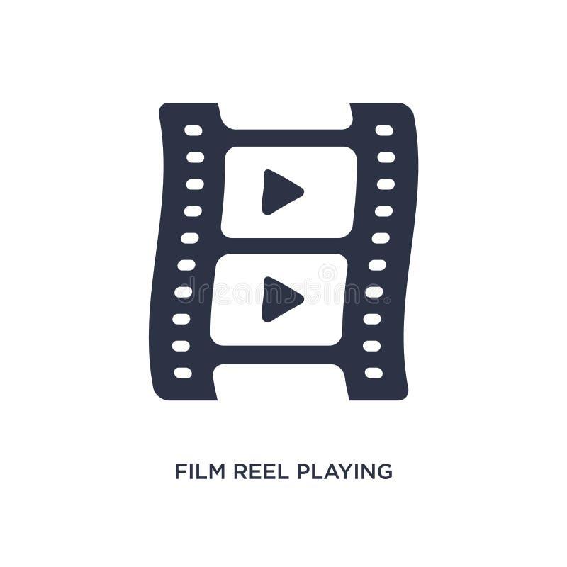 carretel de filme que joga o ícone no fundo branco Ilustração simples do elemento do conceito do cinema ilustração royalty free