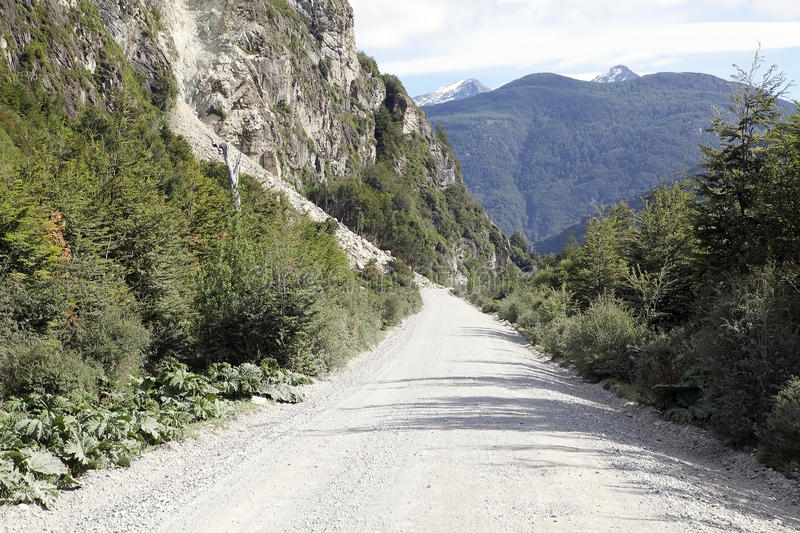 The Carretera Austral, Chile. Landslide along the Carretera Austral in Chile. Carretera Austral is the Chile`s Route 7, the highway that runs about 1200 km stock photos