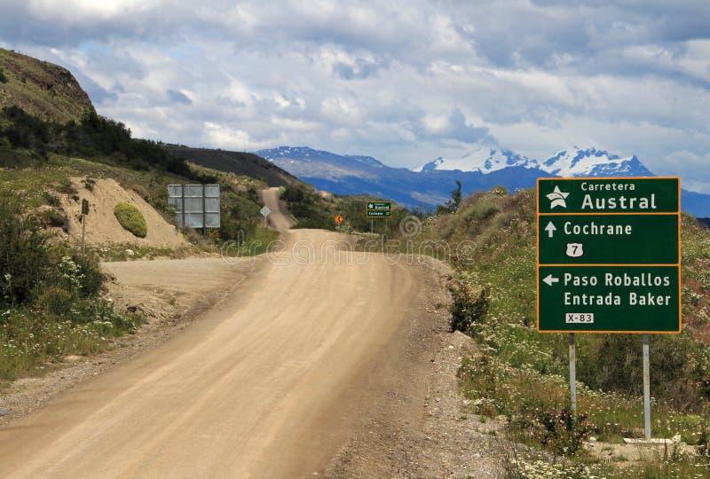 Carretera austral de Carretera, ruta 7, con la señal de tráfico, Chile imagenes de archivo