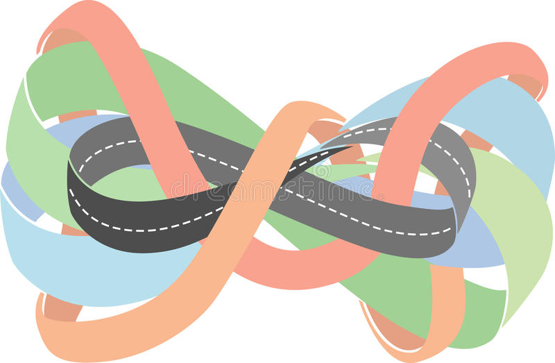 Carretera como tira de Moebius stock de ilustración