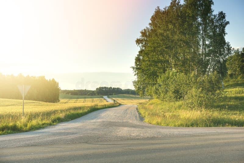 Carretera con curvas del campo a través del prado verde Lanscape hermoso foto de archivo