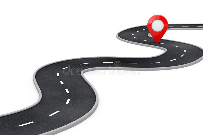 Carretera con curvas con el destino Pin Target Pointer rojo al final del camino representaci?n 3d stock de ilustración