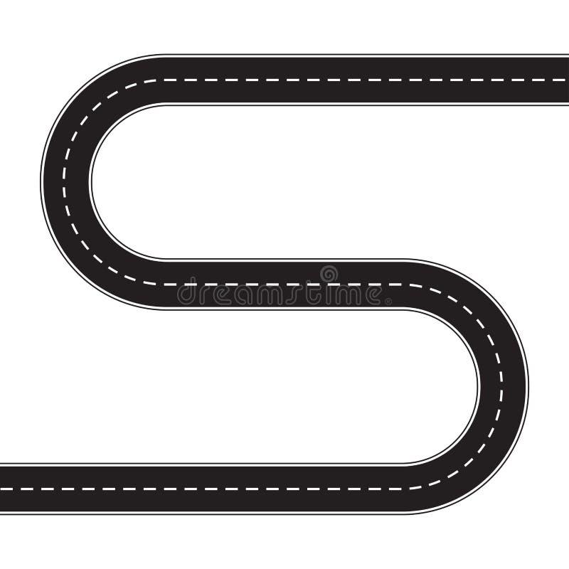 Carretera de asfalto aislada en el fondo blanco Ejemplo del vector de la carretera con curvas Plantilla del diseño del tráfico de ilustración del vector
