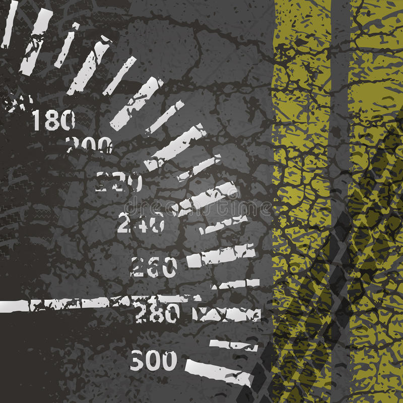 Carretera de asfalto con el velocímetro, las marcas y las pistas de la rueda libre illustration