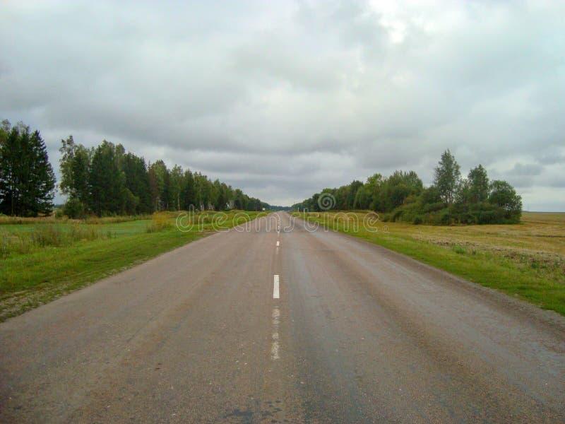Carretera de asfalto directa a través del campo debajo del cielo, en el cual las nubes flotan fotos de archivo