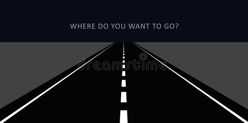 Carretera de asfalto en la noche que va a la distancia stock de ilustración