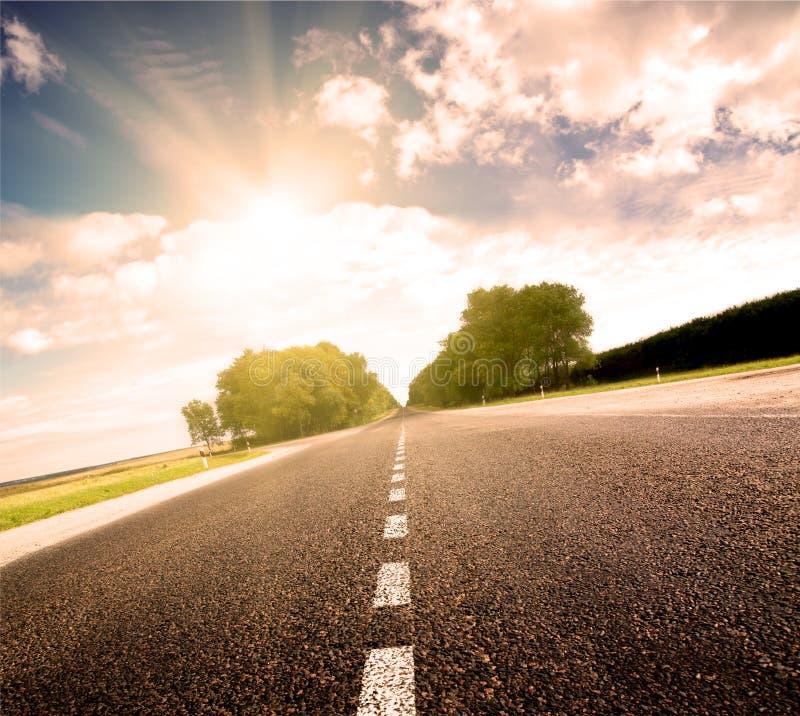 Carretera de asfalto en prado verde de la puesta del sol fotos de archivo libres de regalías