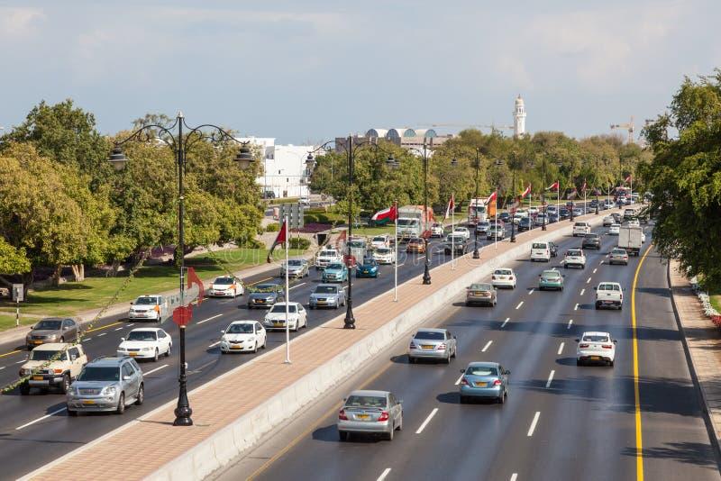 Carretera de la ciudad en Muscat, Omán foto de archivo libre de regalías