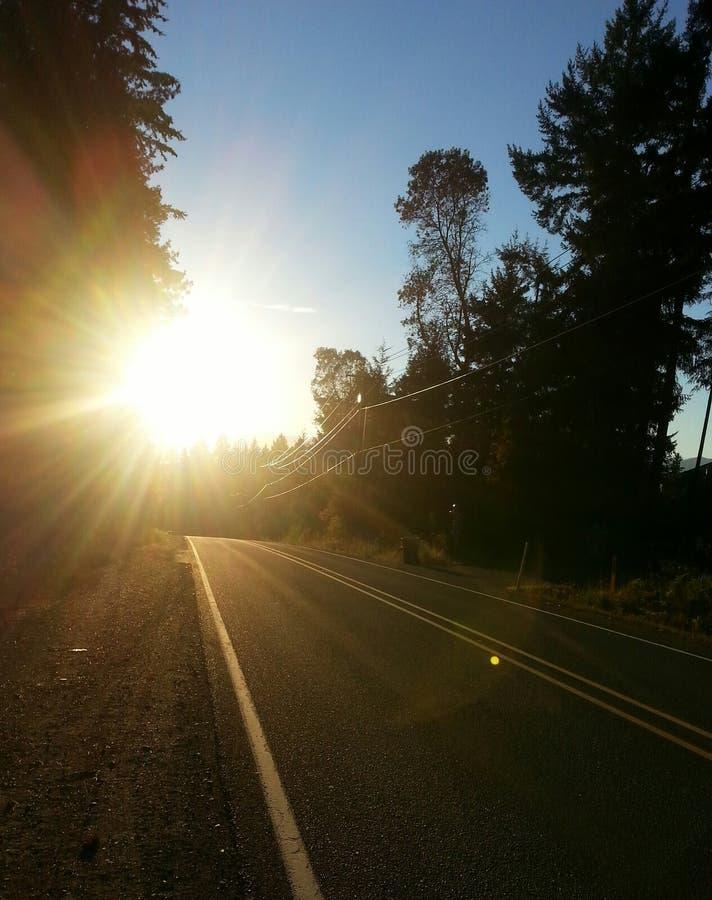 Carretera de la puesta del sol fotos de archivo libres de regalías