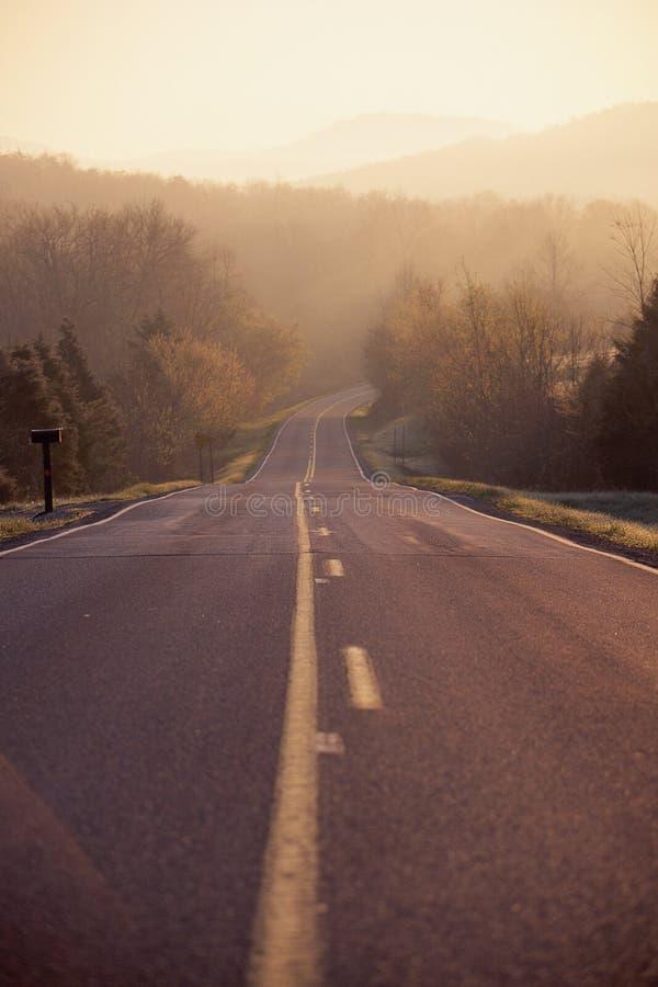 Carretera del país por mañana fotografía de archivo libre de regalías