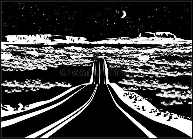 Carretera en la noche ilustración del vector