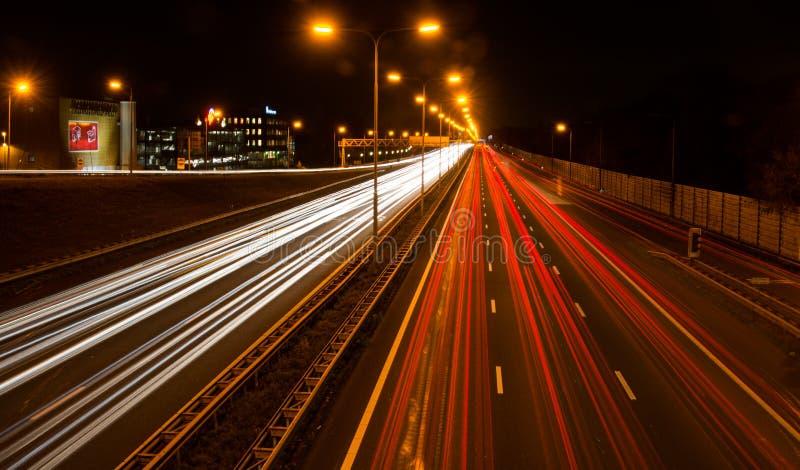 Carretera en la noche fotos de archivo libres de regalías