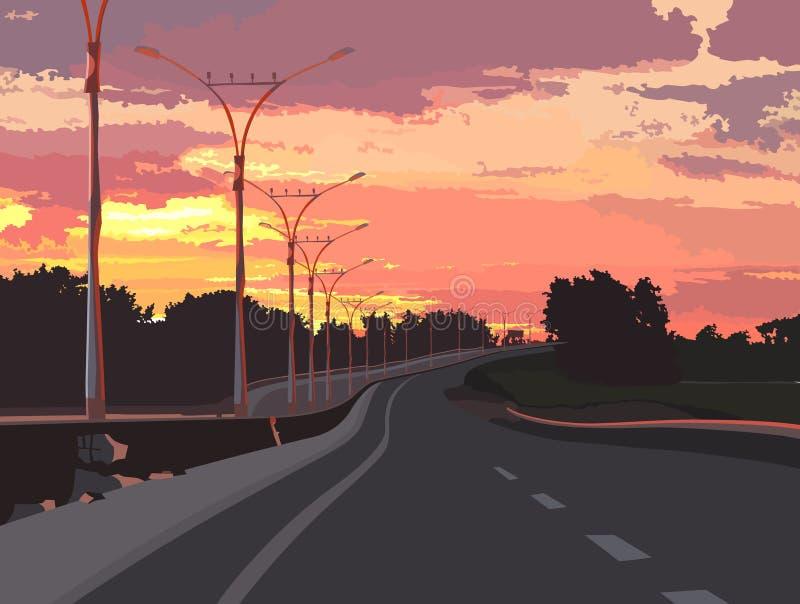Carretera en un fondo de la puesta del sol rosada libre illustration