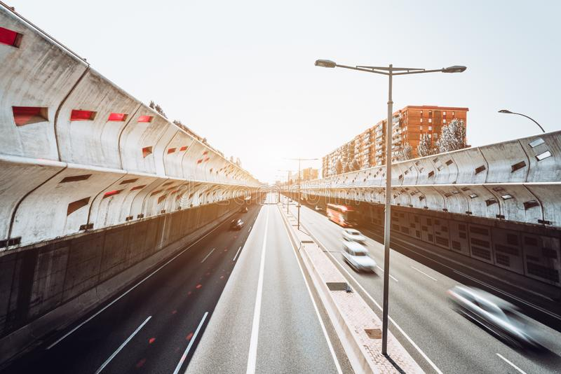 Carretera; exposición larga, granangular fotos de archivo