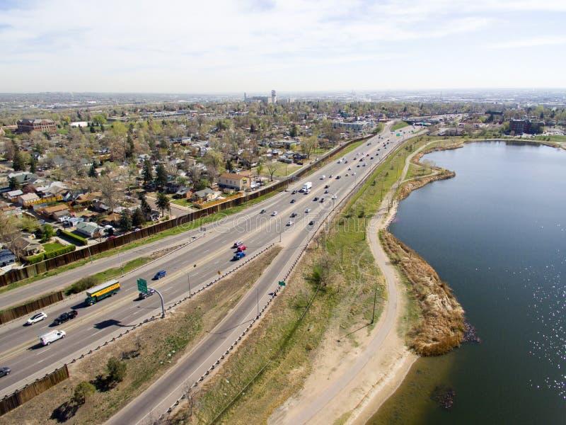 Carretera I70 en Denver Colorado imagen de archivo libre de regalías