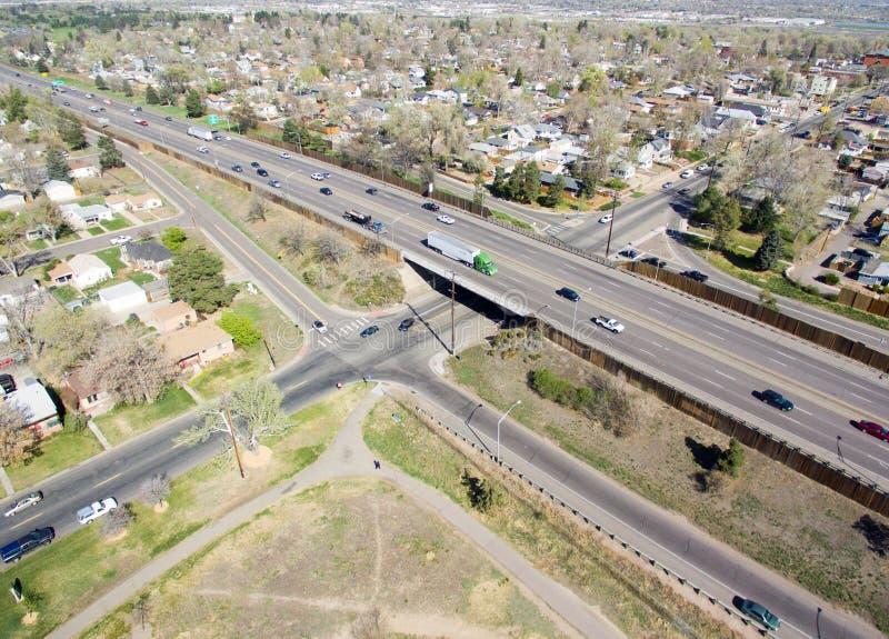 Carretera I70 en Denver Colorado fotografía de archivo libre de regalías