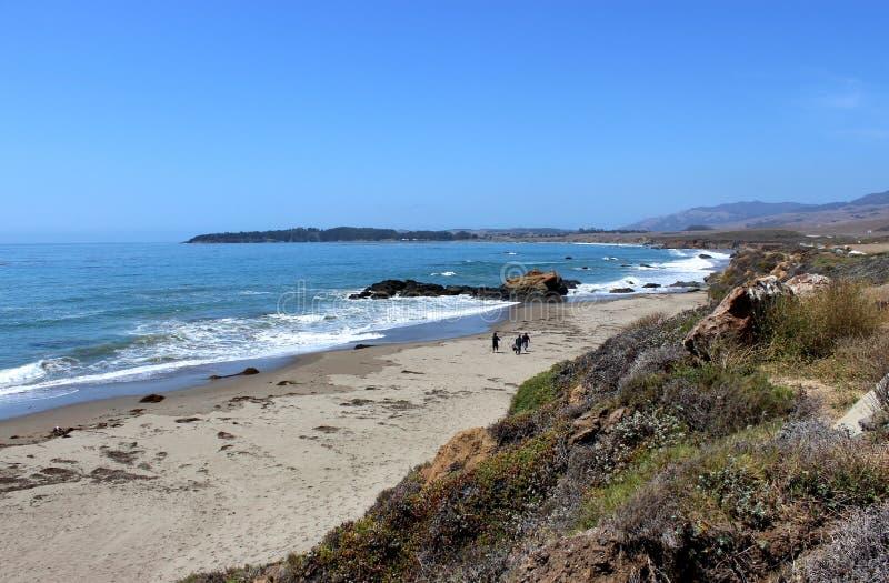 Carretera Los Ángeles de la Costa del Pacífico a San Francisco, mirando hacia San Simeon foto de archivo