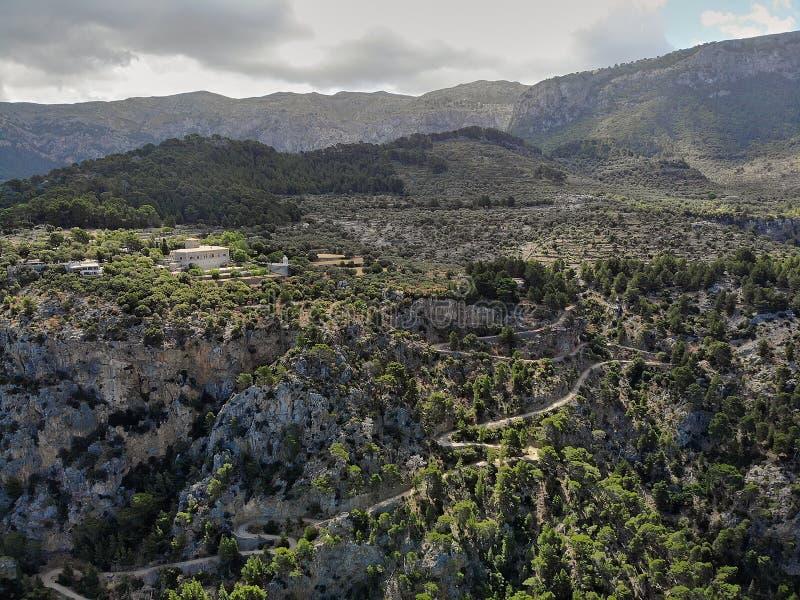 Carretera nacional aérea de la bobina del campo de Marroig del hijo de la foto, Palma de Mallorca, Balearic Island, España fotografía de archivo libre de regalías