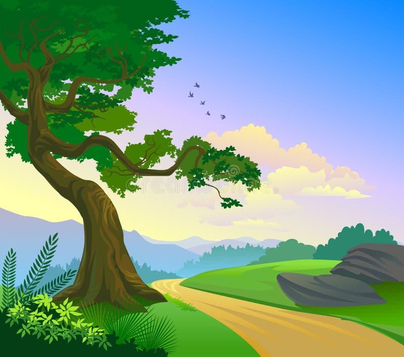Carretera nacional magnífica y un árbol solo stock de ilustración