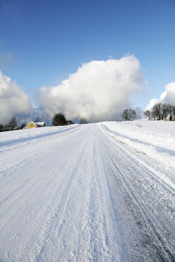 Carretera nacional Nevado en Suecia fotos de archivo libres de regalías