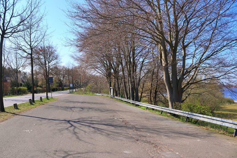 Carretera nacional vac?a sin coches con algunos ?rboles y un cielo azul encontrado en Alemania septentrional imágenes de archivo libres de regalías