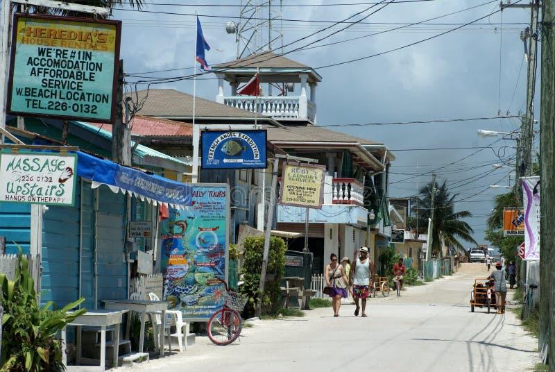 Carretera principal en el calafate de Caye imagen de archivo