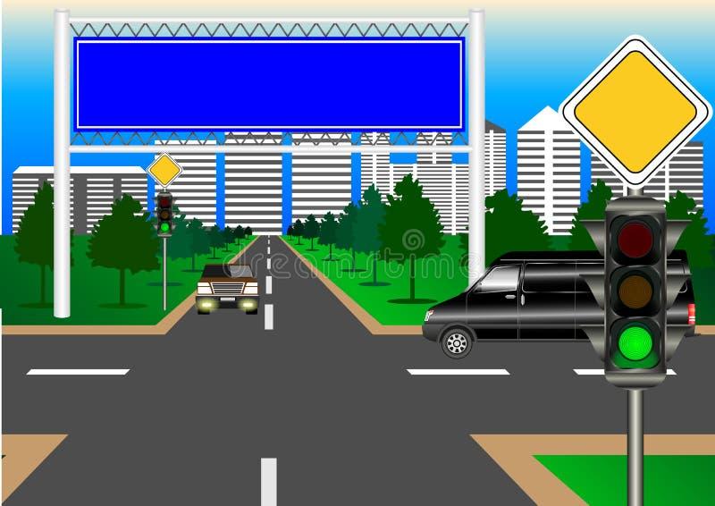Carretera principal, intersección de la ciudad, libre illustration