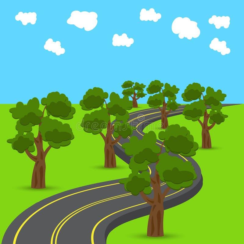 Carretera que retrocede en la distancia en el estilo animado Robles verdes en los bordes del camino Ilustración libre illustration