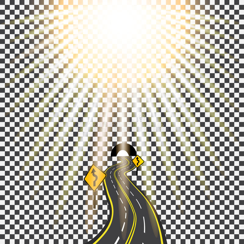 Carretera que retrocede en la distancia en el túnel Camino de doblez Luz del sol brillante Ilustración ilustración del vector