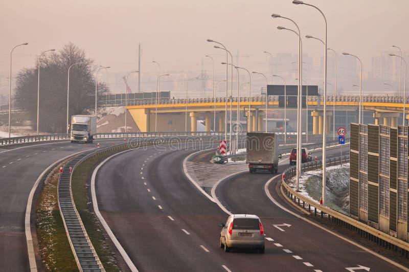 Carretera S17 cerca a Lublin, Polonia imagenes de archivo