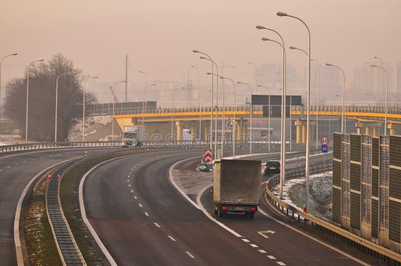 Carretera S17 cerca a Lublin, Polonia foto de archivo libre de regalías