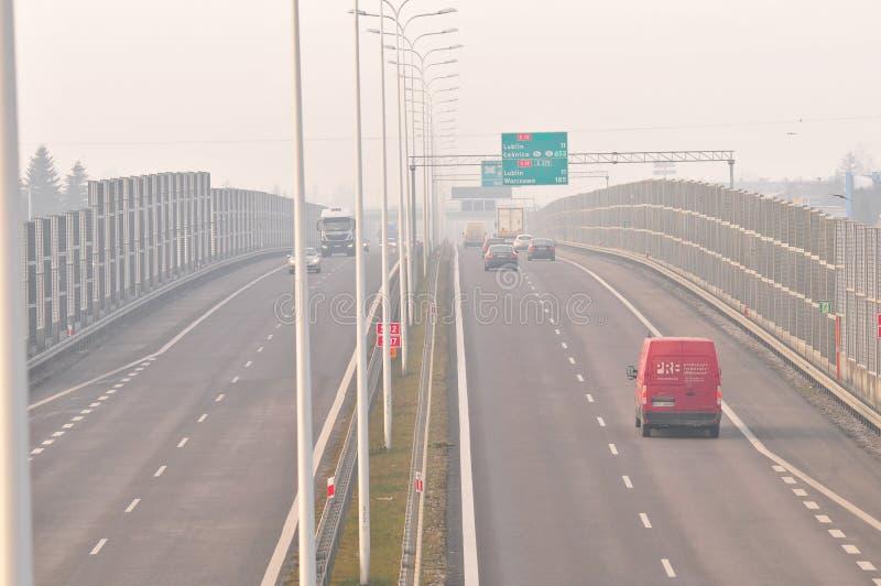 Carretera S17 cerca a Lublin, Polonia imagen de archivo libre de regalías