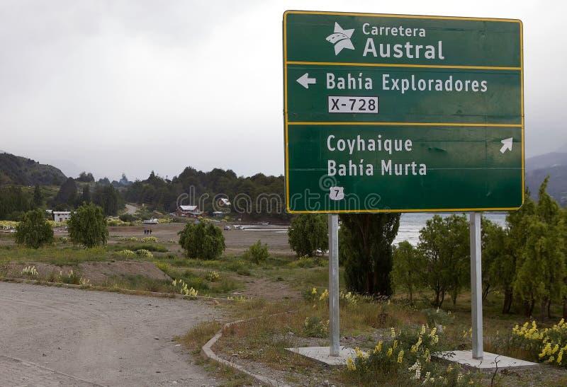 Carretera som är austral på Puerto Rio Tranquilo, Patagonia, Chile arkivbilder