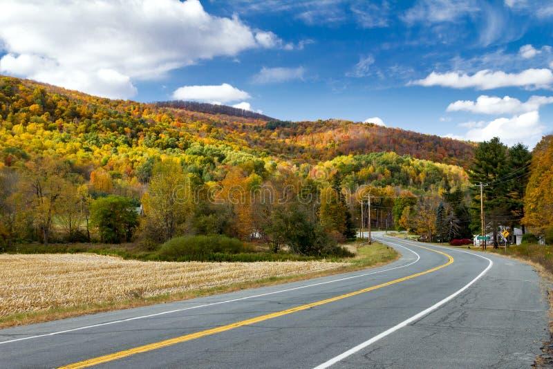 Carretera a través del campo colorido de la caída en Nueva Inglaterra imagen de archivo libre de regalías