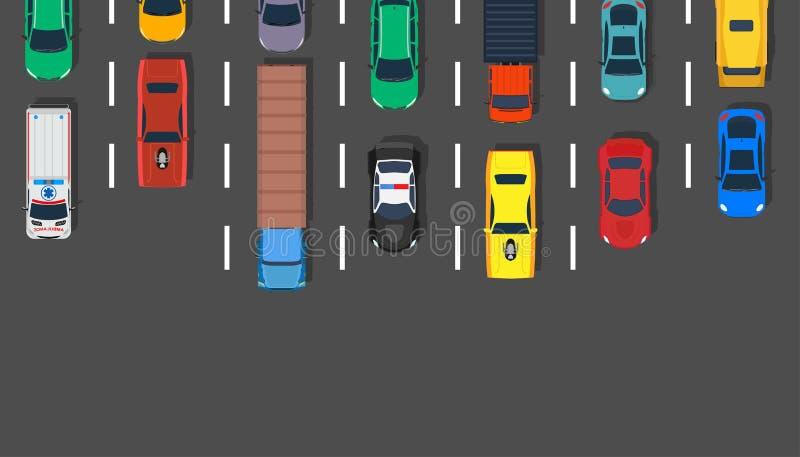 Carretera vectorial de la parte superior de los vagones de tráfico Carretera de diseño aéreo de asfalto de la ciudad de Lot Viaje stock de ilustración