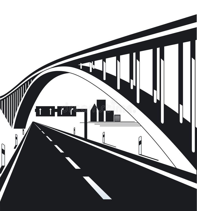 Carretera y puente urbanos ilustración del vector
