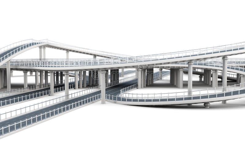 Carreteras del paso superior aisladas en el fondo blanco representación 3d stock de ilustración
