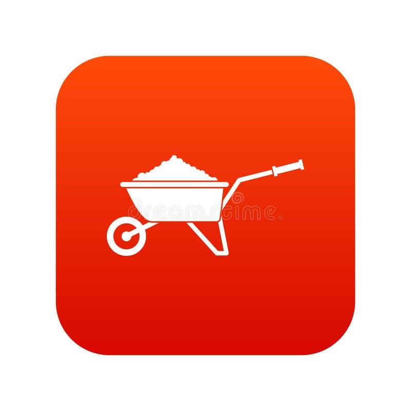 Carretilla cargada con rojo digital del icono del suelo libre illustration