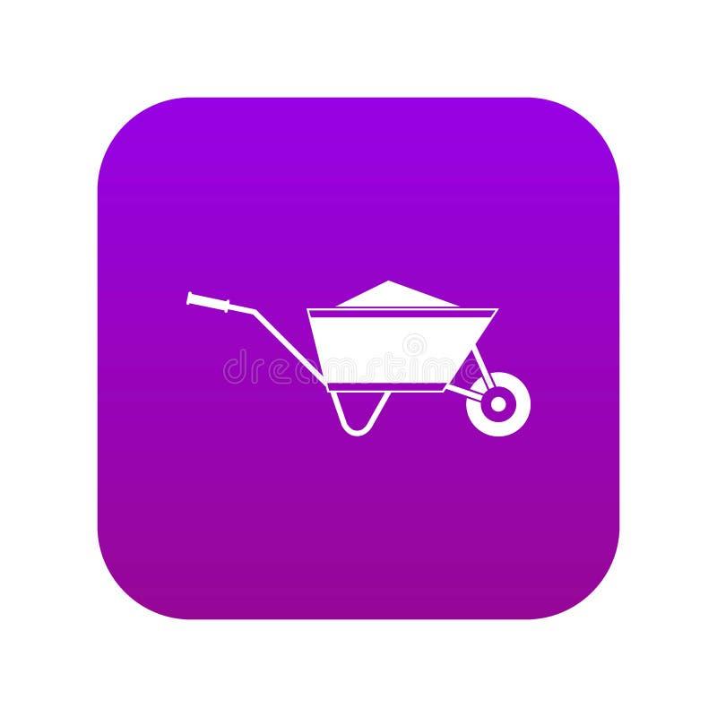 Carretilla con púrpura digital del icono de la arena ilustración del vector