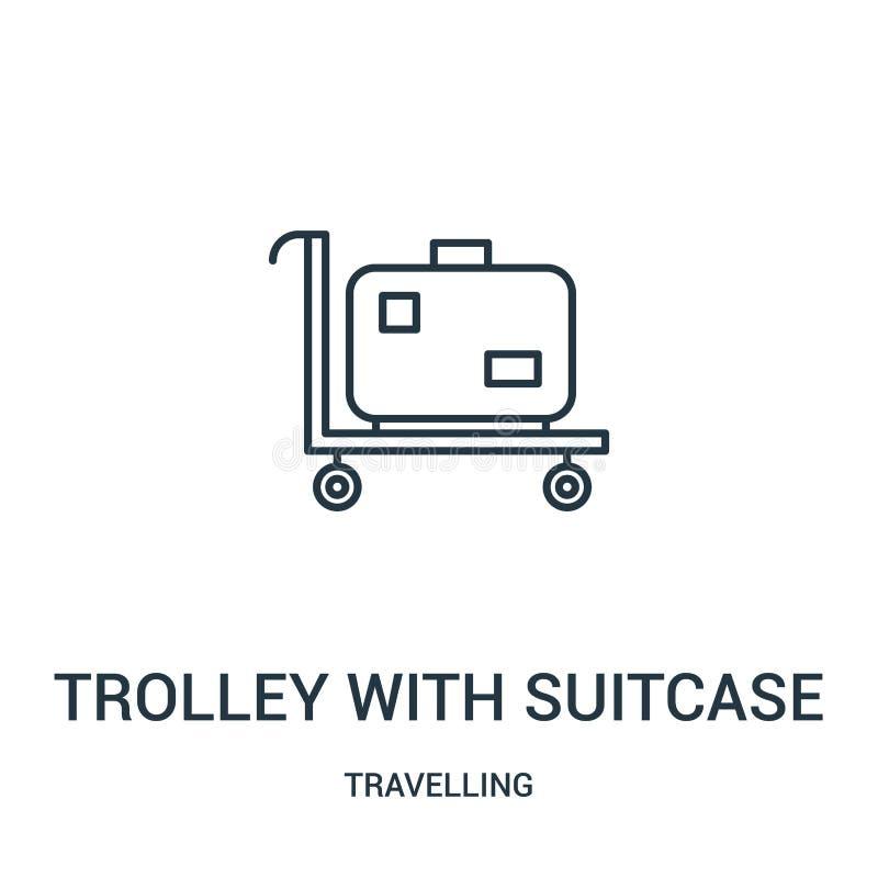 carretilla con vector del icono de la maleta de la colección que viaja Línea fina carretilla con el ejemplo del vector del icono  stock de ilustración