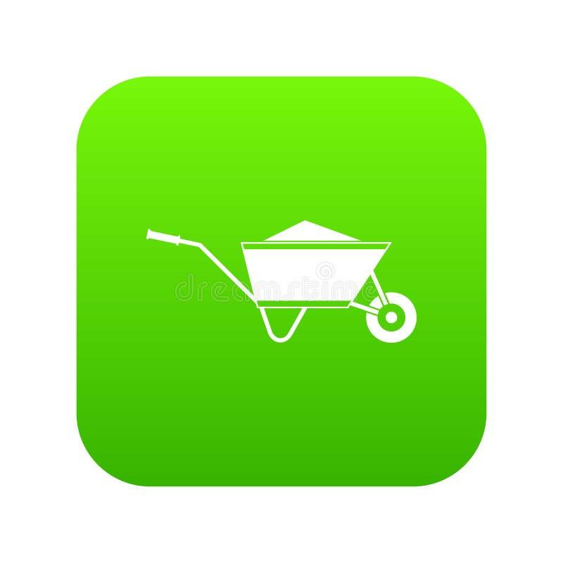 Carretilla con verde digital del icono de la arena ilustración del vector