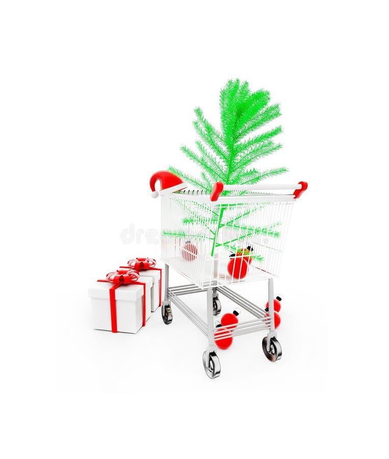 carretilla 3d con el árbol de Navidad, el casquillo de santa y los regalos en el concepto blanco del piso ilustración del vector