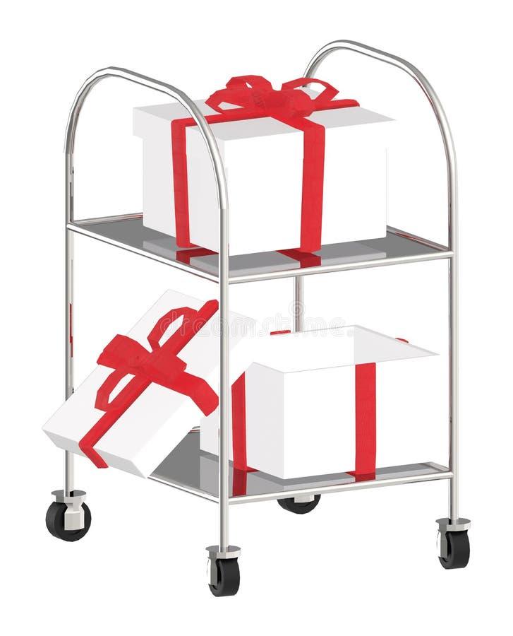 carretilla 3d con los regalos en ella libre illustration