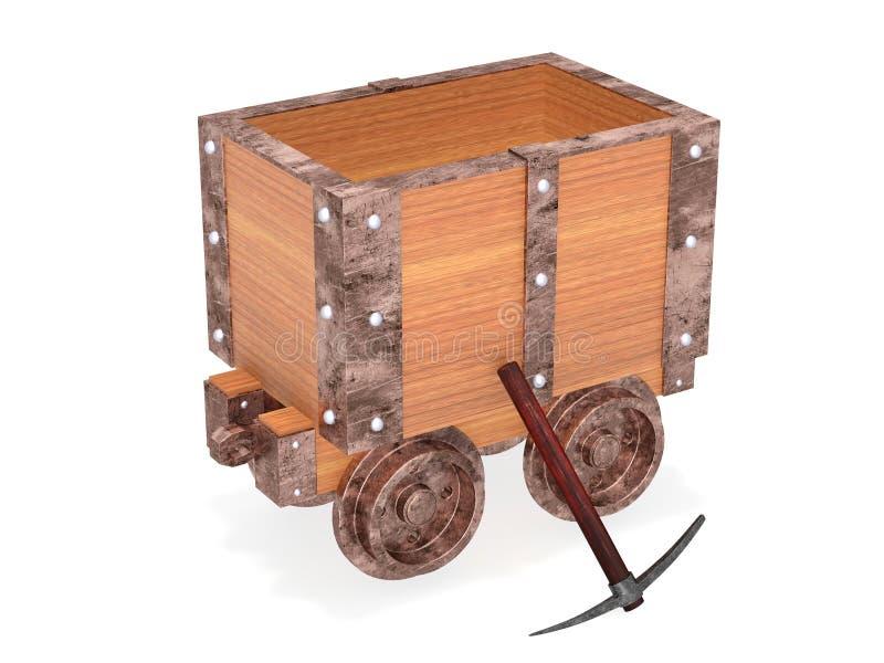 Carretilla de la mina con la selección stock de ilustración
