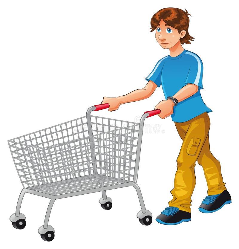 Carretilla de las compras stock de ilustración