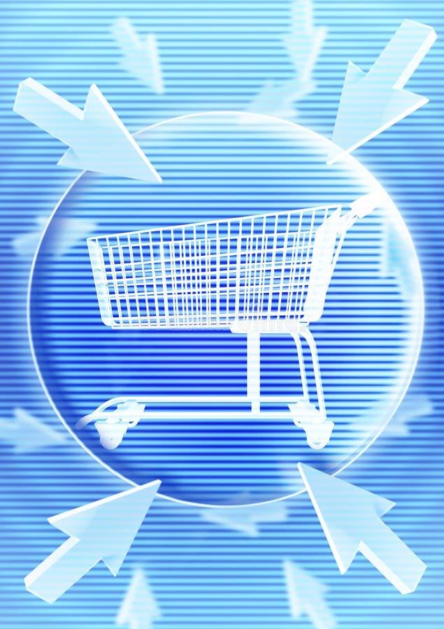 Carretilla de las compras con efecto gráfico imagen de archivo