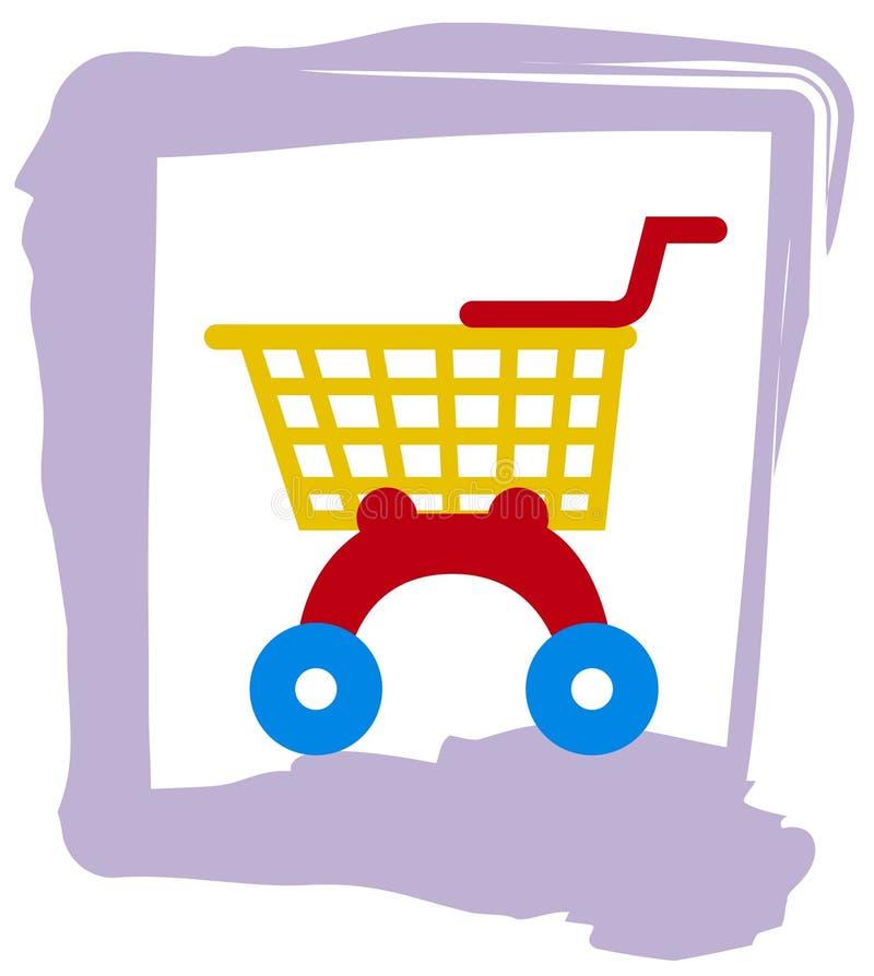 Carretilla de las compras del juguete stock de ilustración