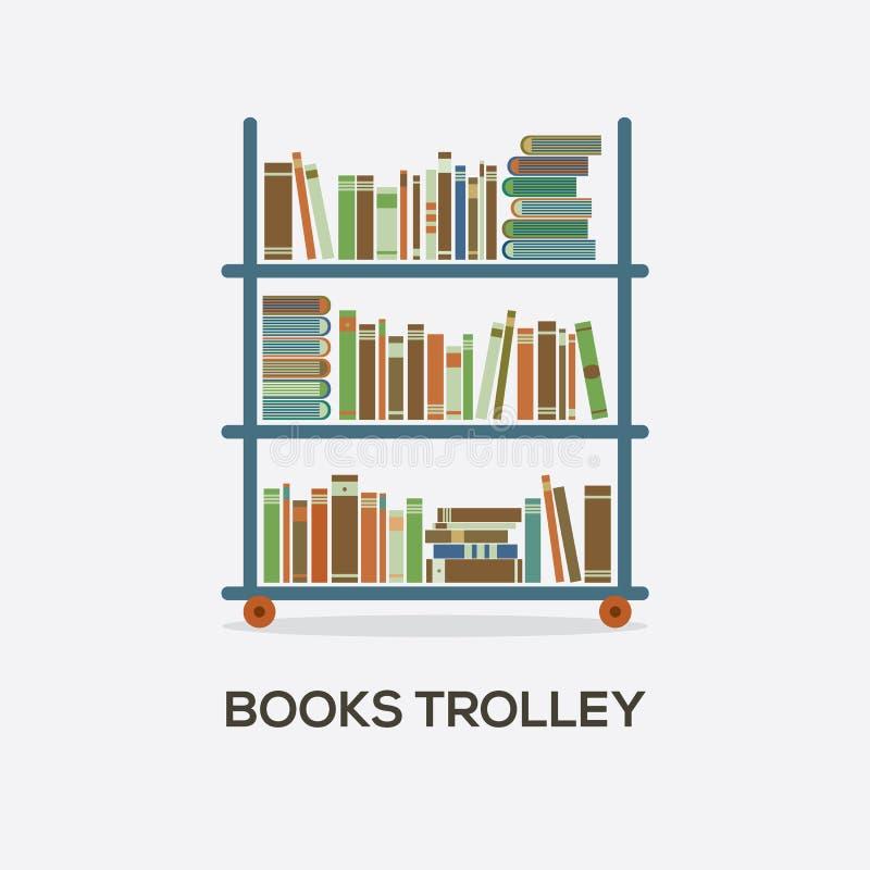 Carretilla de libros plana del diseño ilustración del vector